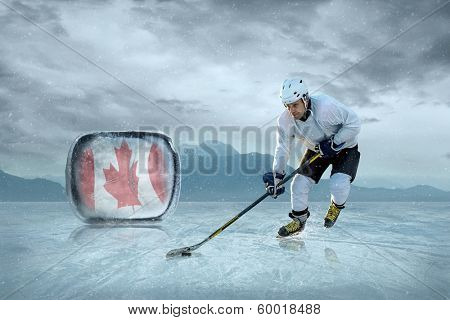 Ice hockey player on the ice. Canada national team.