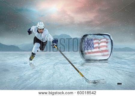 Ice hockey player on the ice. USA national team.