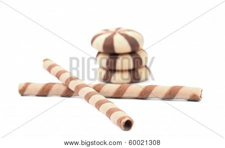 Striped wafer rolls and stake biscuits.