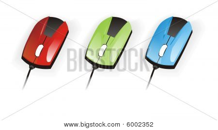 Red green blue Mouses