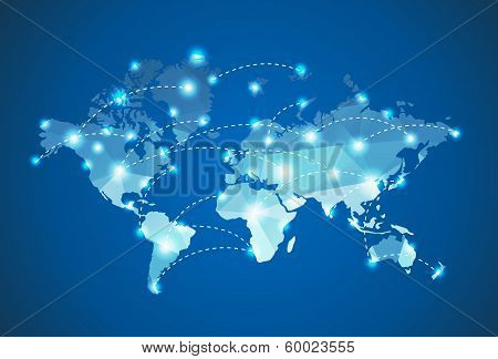 Polygonal World Map With Spot Lights Effect