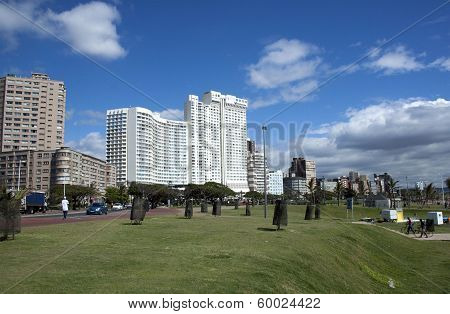 Grassy Beachfront City Landscape In Durban, South Africa