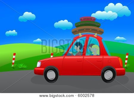 going on holiday (road trip; vector)