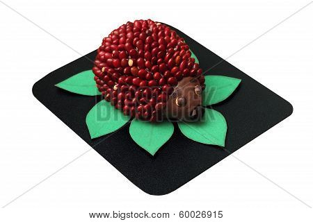 Toy Hedgehod Made From Plasticine And Beans Isolated On White