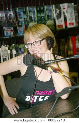 BURBANK, CA - FEBRUARY 16: Lotti Pharriss Knowles participates in The IntelleXual podcast prior to the