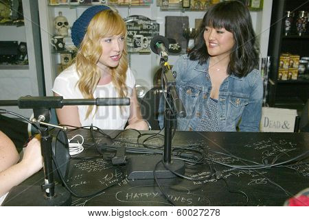 BURBANK, CA - FEBRUARY 16: Sarah Stouffer and Amy Okuda participate in The IntelleXual podcast prior to the