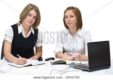 Two businesswomen at work