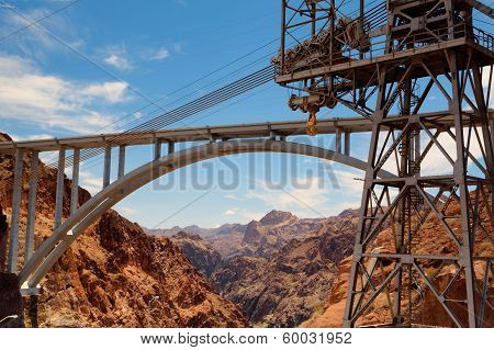The Highway Bridge Over The Hoover Dam