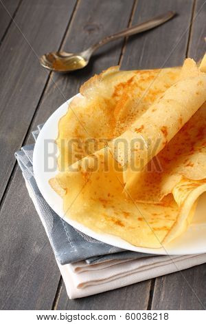 Gluten Free Crepes From Rice Flour, Potato Starch And Millet Flour With Honey