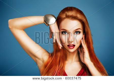 Beauty Portrait of Sexy Red Haired Woman
