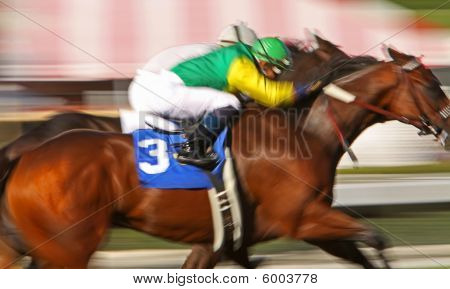 Neck And Neck Motion Blur Horse Race