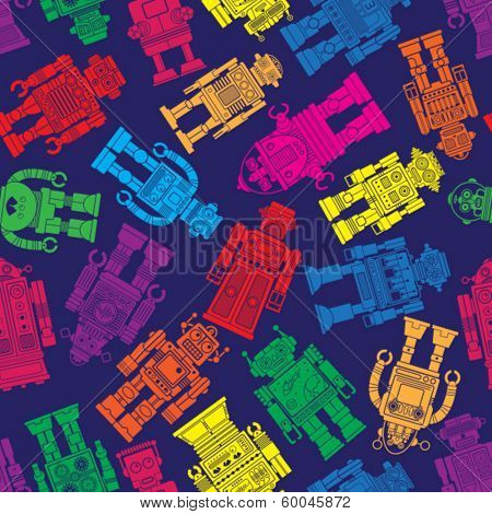 Vintage Tin Toy Robot Seamless Pattern