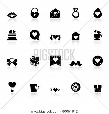 Heart Element Icons With Reflect On White Background