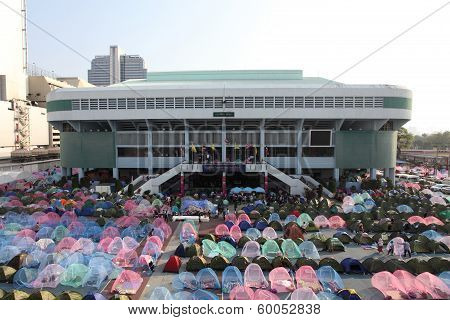 Bangkok-febuary 19 : Camp For Protesters At Nation Stadium To Anti Government And Ask To Reform Befo
