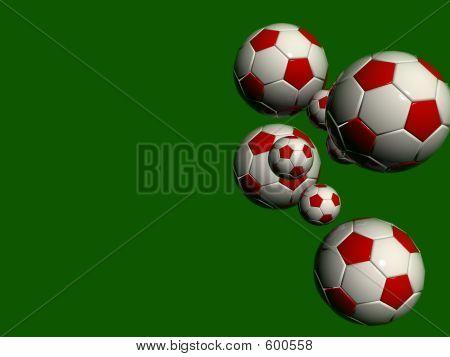 Green Background White Red Balls