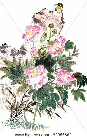 Traditional Chinese Painting ,peony And Bird
