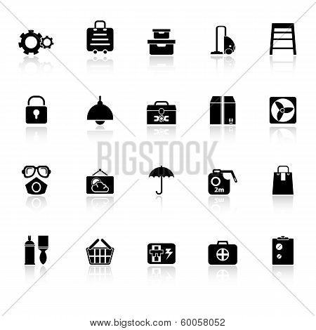Home Storage Icons With Reflect On White Background