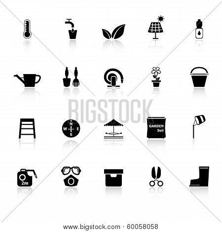 Home Garden Icons With Reflect On White Background