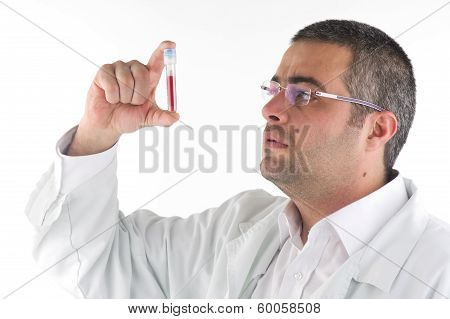 portrait of a doctor diagnosing a blood test