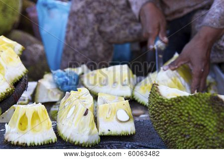 Cambodia Durian At Market