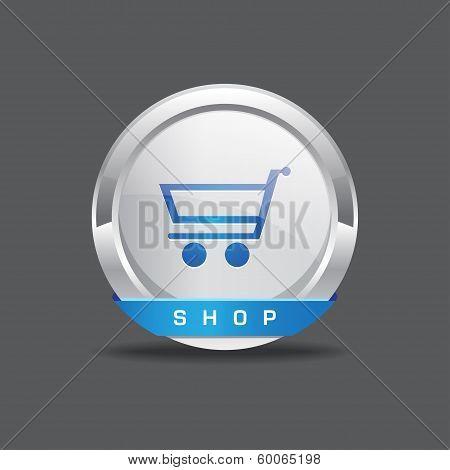 Shopping Cart Round Vector Button Icon