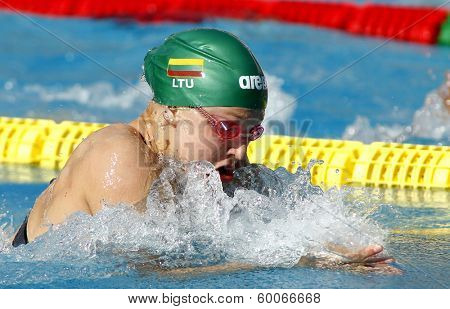 BARCELONA - JUNE, 11: Lithuanian swimmer Ruta Meilutyte swimming breakstroke during the Mare Nostrum meeting in Barcelona's Sant Andreu club, June 11, 2013 in Barcelona, Spain