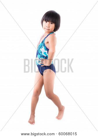 Cute Smiling Little Girl In Swimsuit Isolated On White Background