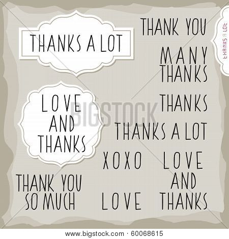 love and thanks hand drawn monochrome inscription set with vintage frames