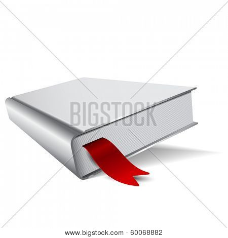 3D vector illustrated gray book with a red bookmark and shadow
