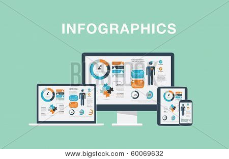 Infographics in modern flat vector illustration electronic devices laptop, tablet, computer and smar