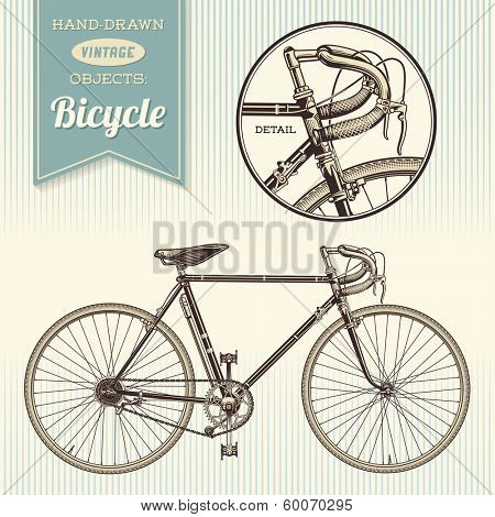 hand-drawn vintage objects: racing bike