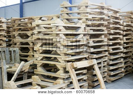 Wooden Pallettes In Production Hall