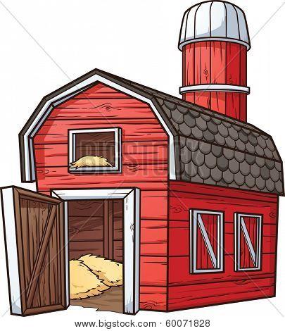 Red cartoon barn. Vector