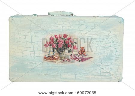 old suitcase decorated with turquoise