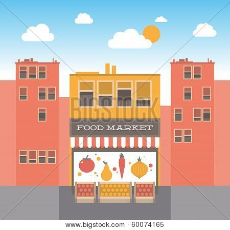 Food Market On The Street Illustration