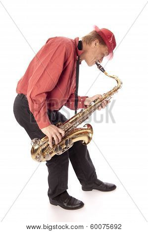 Man Playing Tenor Saxophone Bend Over
