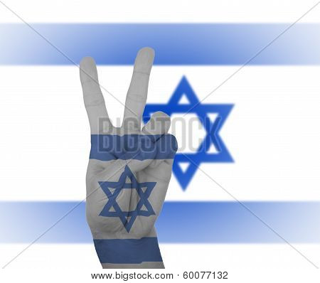 Hand Peace Sign With Flag Of Israel