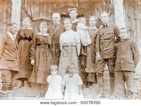 POLAND, CIRCA TWENTIES - Vintage photo of family with children