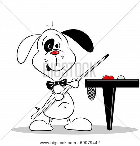 A cartoon dog with a snooker cue
