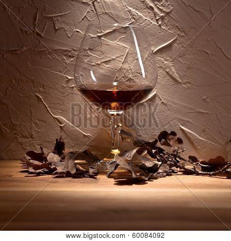 Brandy And Dried Oak Leaves