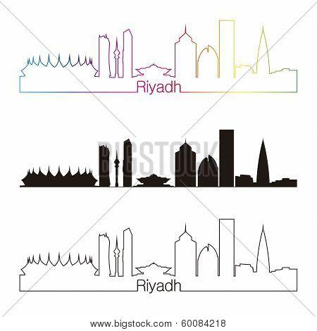 Riyadh Skyline Linear Style With Rainbow