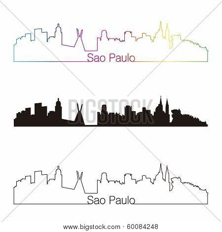 Sao Paulo Skyline Linear Style With Rainbow