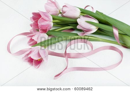 Beautiful Bouquet Of Pink Tulips And Pink Ribbon , Isolated On White