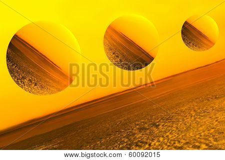 Imaginary planets, depiction of a molten space