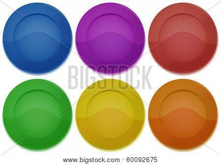 Illustration of the six colorful round plates on a white background