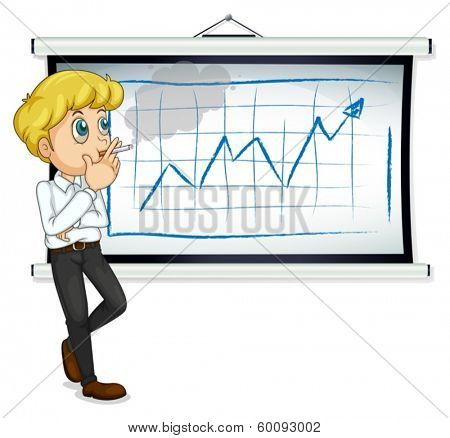 Illustration of a man smoking in front of the chart on a white background