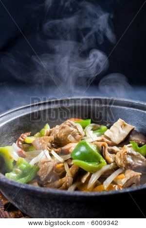 Steaming meat stew