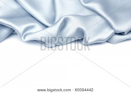 Blue silk isolated on white background