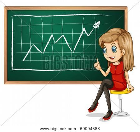 Illustration of a girl explaining the graph while sitting down on a white background