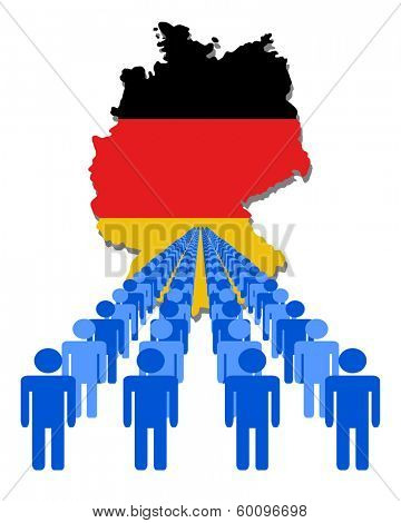 Lines of people with Germany map flag vector illustration